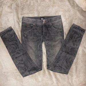HUDSON Gray Collin Skinny Rose Pattern Jeans sz 25